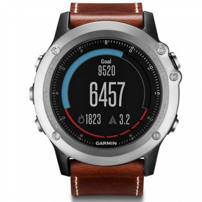 Garmin Fenix 3 Sapphire Performer Bundle Silver with Leather Band (010-01338-61)