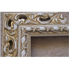 Wooden baguette frames for decoration white gold. Frames for mirrors and paintings.