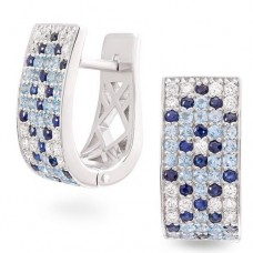 Earrings with diamonds, sapphires and topaz