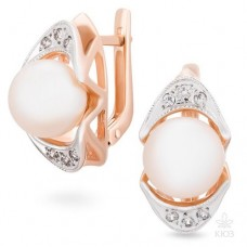 Earrings with pearls and zirconium