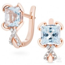 Earrings with diamonds and topaz