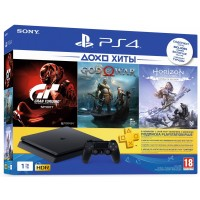 Game console SONY PlayStation 4 Slim 1Tb (Gran Turismo + God Of War + Horizon. Zero Dawn + PSPlus 3M) (9785316)