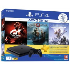 Game console SONY PlayStation 4 Slim 1Tb (Gran Turismo + God Of War + Horizon. Zero Dawn + PSPlus 3M) (9785316)