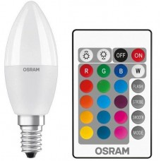 Lamp LED OSRAM LED STAR E14 5.5-40W 2700K+RGB 220V B35 remote control panel