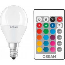 Lamp LED OSRAM LED STAR E14 5.5-40W 2700K+RGB 220V P45 remote control panel