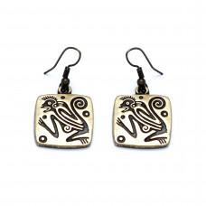 EARRINGS OF FIERY APE, BRONZE. BRAND Scythian Ethnica. Shipping: FREE