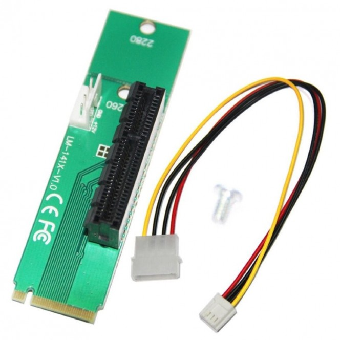 Riser adapter PCI-E 4x Female to NGFF M.2 M Key Male, Power Cable 4 Pin to Molex