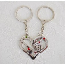 Trinkets I love you pair for two trinkets keychain for lovers heart treble clef note