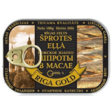 Riga Gold. Sprats in oil key 100g  4 pieces