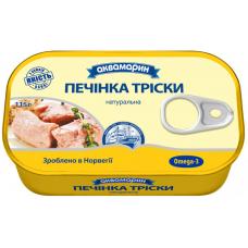 Natural cod liver Aquamarine 115 g # 6 pieces  Omega3