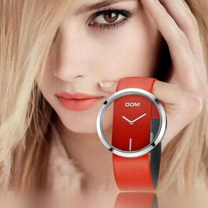 DOM Watch Women luxury Fashion Casual 30 m waterproof quartz watches genuine leather strap sport Ladies elegant wrist watch girl