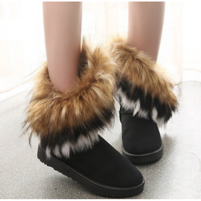 Women Fur Boots Ladies Winter Warm Ankle Boots For Women Snow Shoes Style Round-toe Slip On Female Flock Snow Boot Ladies Shoes