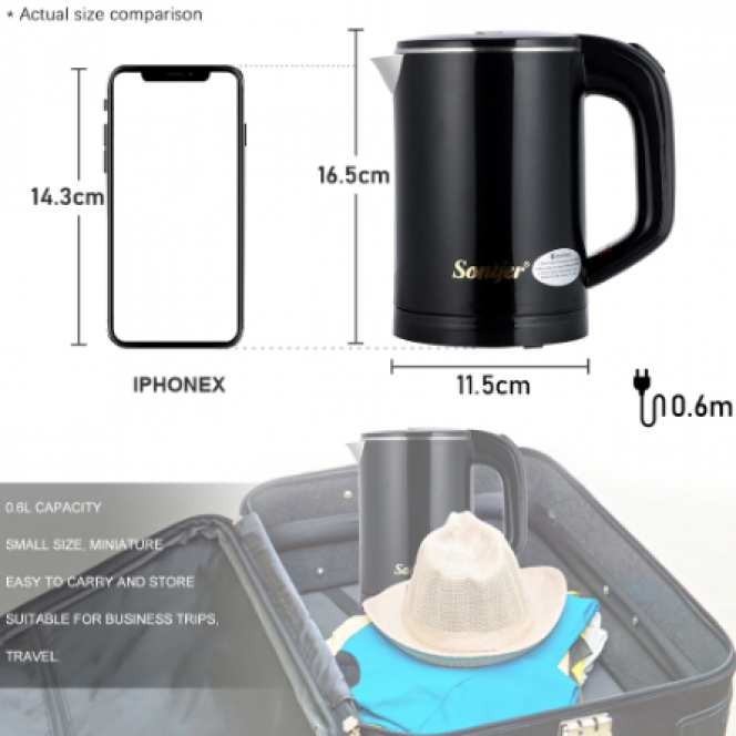 0.6L Travel Kettle Mini Electric Kettle Stainless Steel Cordless Portable 600W Electric Heating Boiler Gas Boiler Water Heater Pot Sonifer