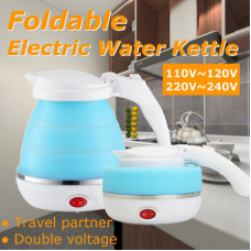 0.75L EU Plug Electric Kettle Silicone Foldable Portable Camping Travel Water Boiler Adjustable Voltage Household Electrical Appliances