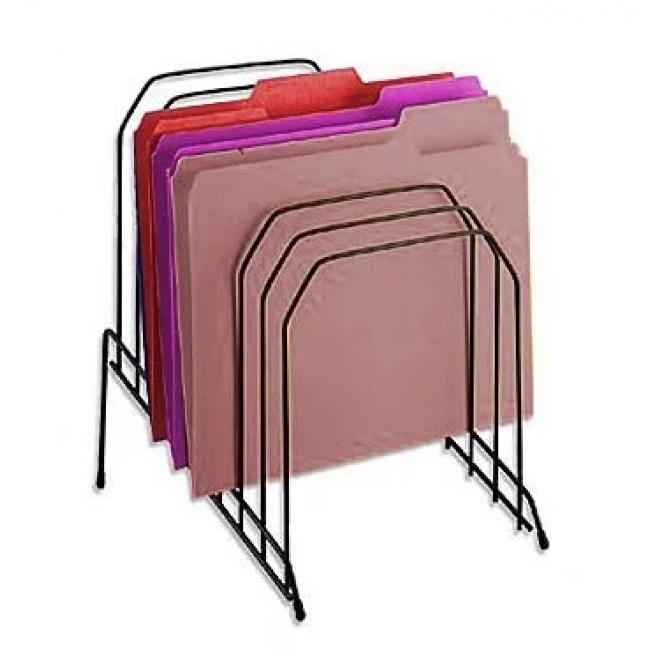 Office Metal Incline Desktop File Sorter Organizer, 8 Compartments, Black