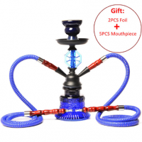Portable Double Hose Glass Hookah Small Hookah Travel Tube Set Narzhele Chihas with Narguil Hose Bowl Charcoal Tongs