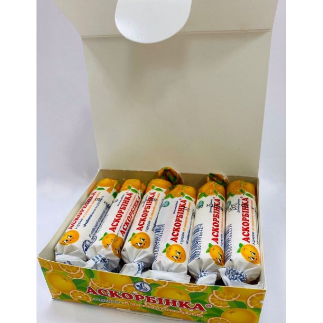 Dietic supplement Ascorbinka with orange relish 10 packs of 10 tablets