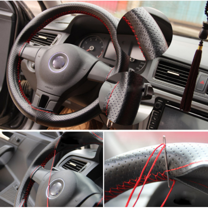 Steering wheel cover car steering wheel cover with needles and thread pu leather diameter 38 cm couvre steering cover