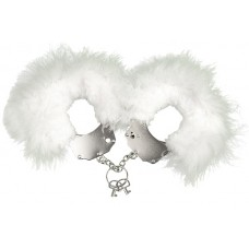 Adrien Lastic Handcuffs White metal handcuffs with white trim