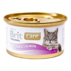 Brit Care (Care Is shaven) Tuna & Salmon is Canned food with a tuna and a salmon in sauce for adult cats