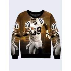 Mens 3D-print sweatshirt - American footballer. Long sleeve. Made in Ukraine.