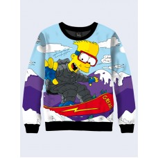 Mens 3D-print sweatshirt - Bart Simpson in the mountains. Long sleeve. Made in Ukraine.