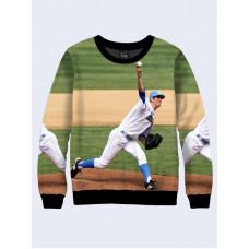 Mens 3D-print sweatshirt - Baseball player with the ball. Long sleeve. Made in Ukraine.