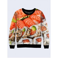 Mens 3D-print sweatshirt - Delicious Sushi. Long sleeve. Made in Ukraine.