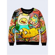 Mens 3D-print sweatshirt - Adventure Time, Finn and Jake. Long sleeve. Made in Ukraine.