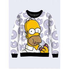 Mens 3D-print sweatshirt - Homer with donut. Long sleeve. Made in Ukraine.