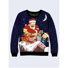 Mens 3D-print sweatshirt - Homer Santa Claus. Long sleeve. Made in Ukraine.