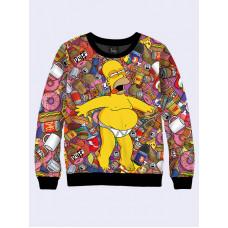 Mens 3D-print sweatshirt - Homer Simpson. Long sleeve. Made in Ukraine.