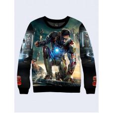 Mens 3D-print sweatshirt - Iron Man. Marvel Comics. Long sleeve. Made in Ukraine.