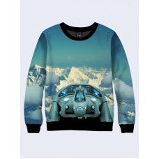 Mens 3D-print sweatshirt - Behind the wheel of the mountains in the winter. Long sleeve. Made in Ukraine.