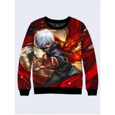 Mens 3D-print sweatshirt - Ken Kaneko, Anime. Long sleeve. Made in Ukraine.