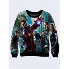 Mens 3D-print sweatshirt - Comics Avengers. Long sleeve. Made in Ukraine.