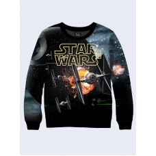 Mens 3D-print sweatshirt - Space fighter, Star Wars. Long sleeve. Made in Ukraine.