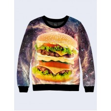 Mens 3D-print sweatshirt - Cosmic hamburger. Long sleeve. Made in Ukraine.