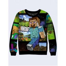 Mens 3D-print sweatshirt - Worlds Minecraft. Long sleeve. Made in Ukraine.