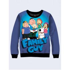 Mens 3D-print sweatshirt - Cartoon Family Guy. Long sleeve. Made in Ukraine.