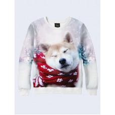 Mens 3D-print sweatshirt - Doggie in a scarf. Long sleeve. Made in Ukraine.