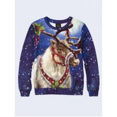 Mens 3D-print sweatshirt - Festive deer. Long sleeve. Made in Ukraine.