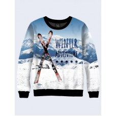 Mens 3D-print sweatshirt - Adventure in the mountains. Long sleeve. Made in Ukraine.