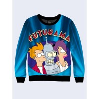 Mens 3D-print sweatshirt - Futurama emblem. Long sleeve. Made in Ukraine.