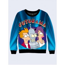 Mens 3D-print sweatshirt - Futurama emblem. Long sleeve. Made in Ukraine.