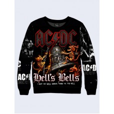 Mens 3D-print sweatshirt - ACDC, Hells Bells. Long sleeve. Made in Ukraine.