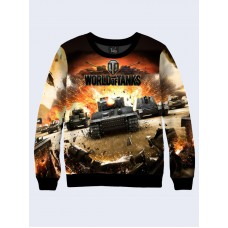 Mens 3D-print sweatshirt - Action game Wot, World of Tanks. Long sleeve. Made in Ukraine.
