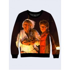 Mens 3D-print sweatshirt - Back to the Future, Marty and Doc. Long sleeve. Made in Ukraine.