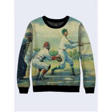 Mens 3D-print sweatshirt - Baseball, Vintage. Long sleeve. Made in Ukraine.