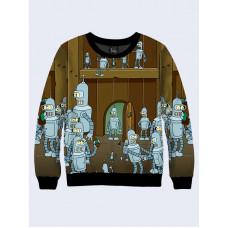 Mens 3D-print sweatshirt - Bender, Cartoon series Futurama. Long sleeve. Made in Ukraine.